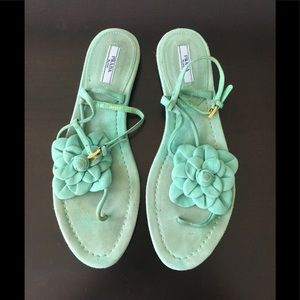 Prada Teal Suede Sandals